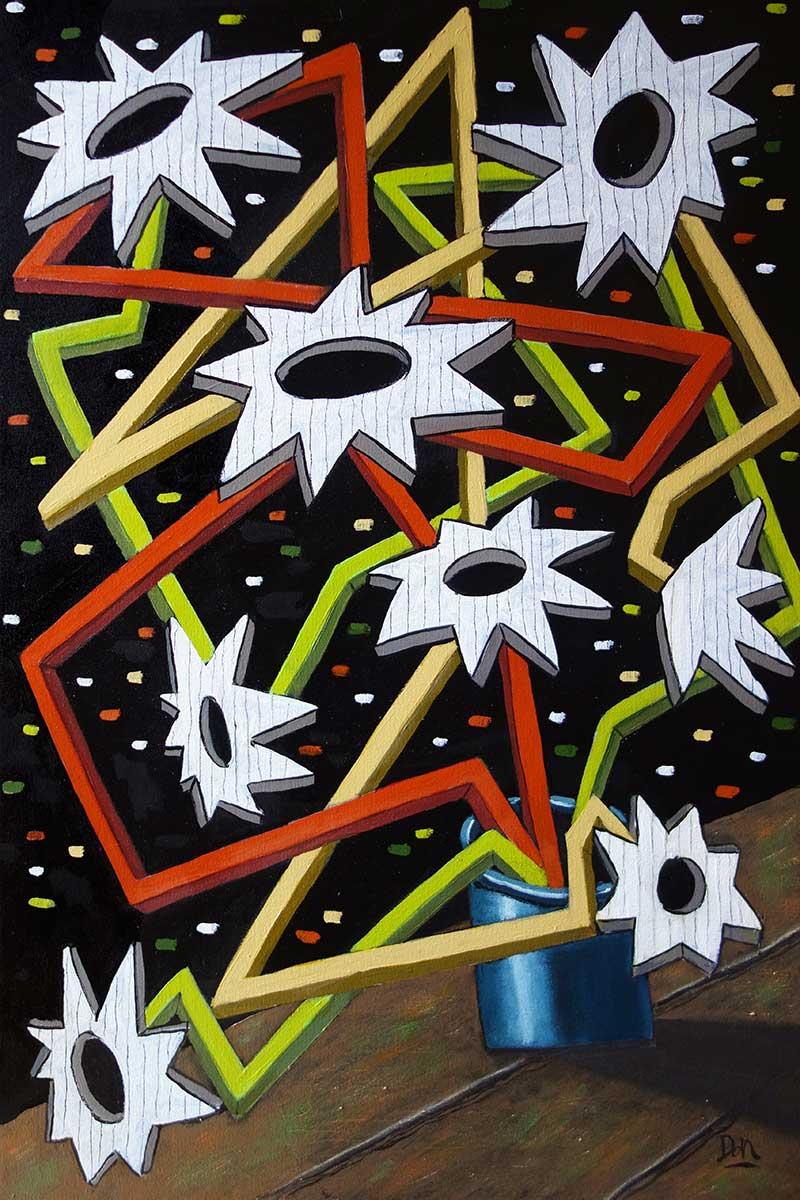 """Starflowers""  36"" x 24""  acrylic on canvas"