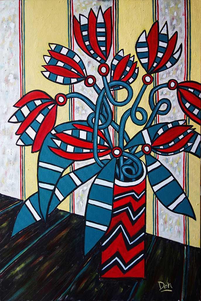 """""""Loop de Loop Flowers""""   36"""" x 24""""  acrylic on canvas"""