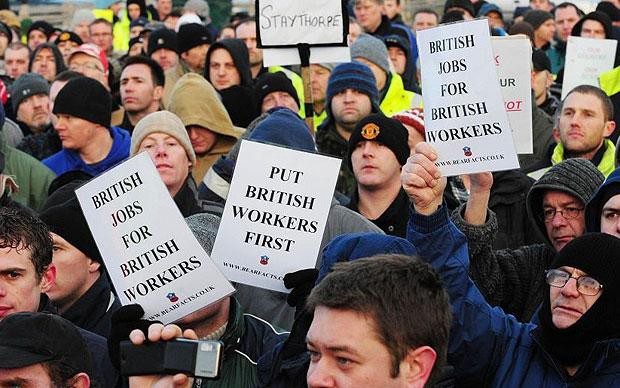 British citizens protest against immigration. The British Voice
