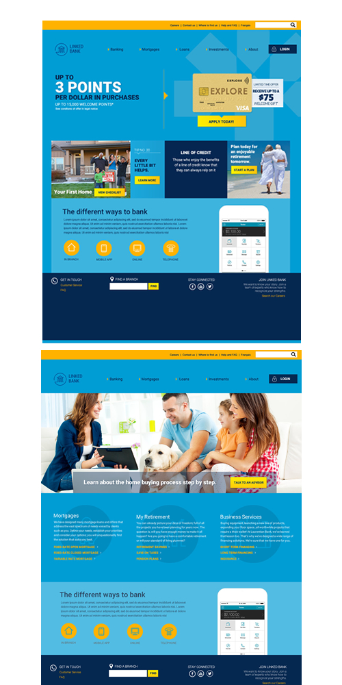 Bank UI - SKILLS: Product Research, UX Design , UI DesignMockups created for a bank located in Monteal. The mockuos were used in marketing materials to sell features and services to the bank.