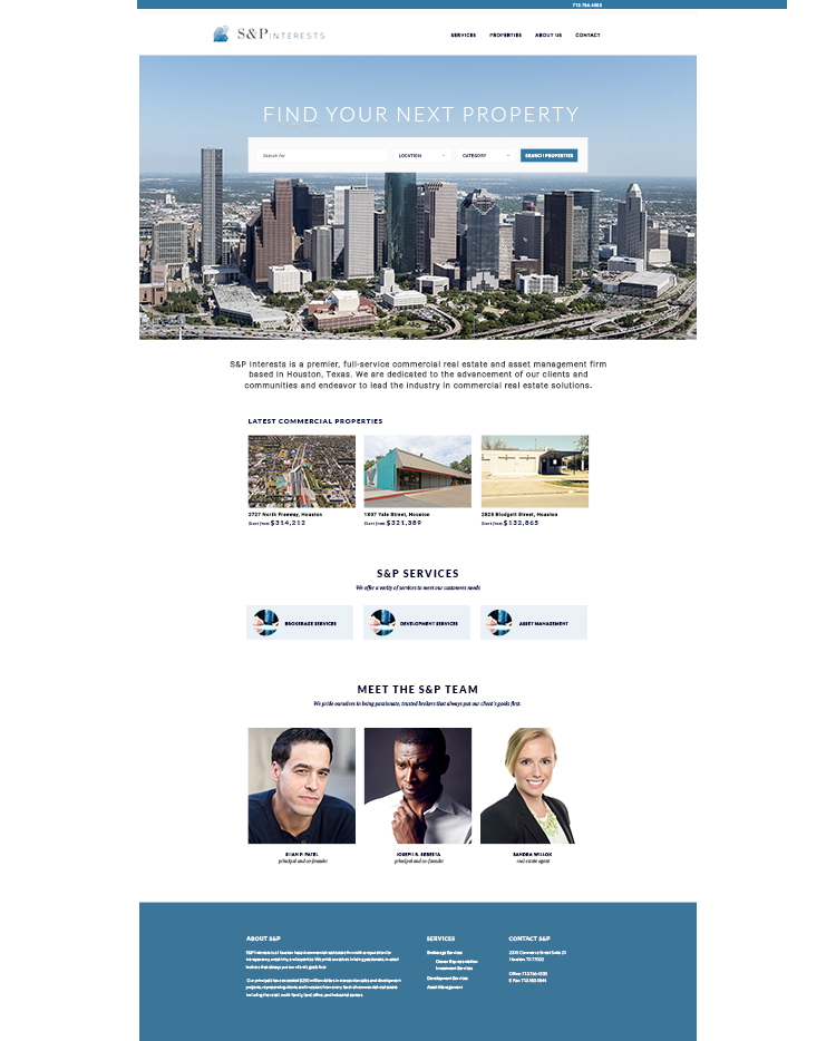 S&P Interests - PROJECT: Website DesignSKILLS: Product Research, Wireframes, UI DesignDETAILS: Design for a commercial real estate company