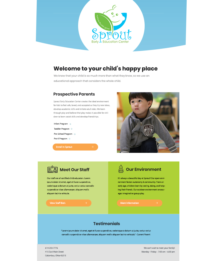 Email Marketing Campaign - Skills: Creative Direction, DesignEmail template design for childcare facility.