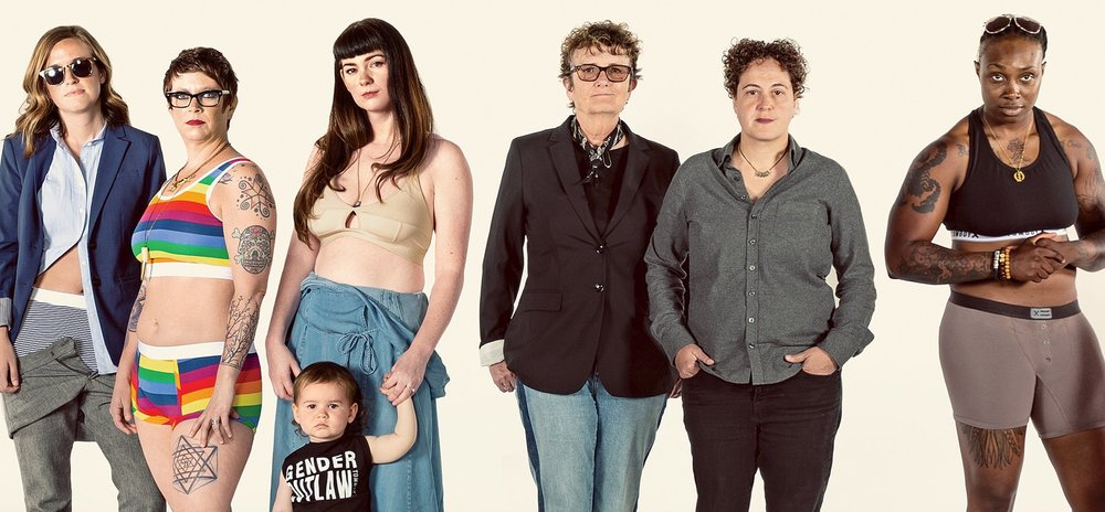 photo courtesy of INC: Married co-founders fran dunaway (Middle left) and naomi gonzalez (middle right) with tombox customers in their undergarmets.