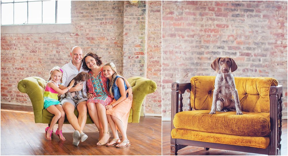 Indoor, rustic studio family portrait with pet dog in Houston by spryART photography