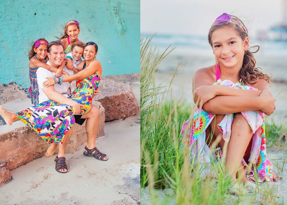 Colorful and creative family photo in Galveston on the beach by spryART photography.