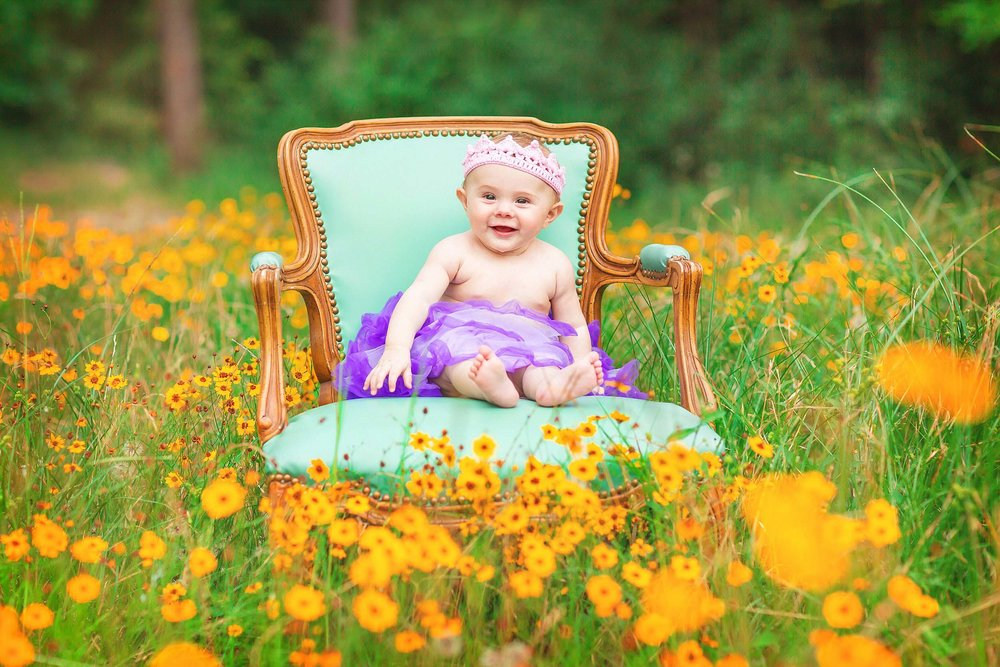 Adorable baby girl in tutu and crown in field of wildflowers in The Woodlands, Texas by spryART photography.
