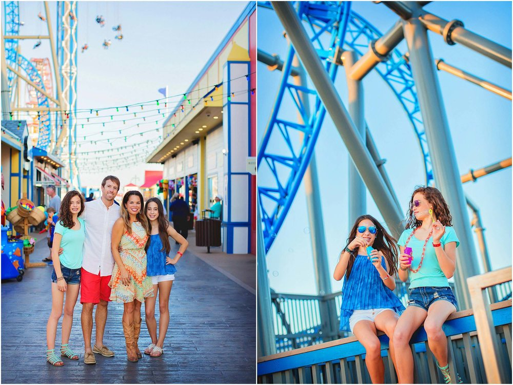 Family with teenagers pose for family portrait on Pleasure Pier in Galveston, Texas by spryART photography.