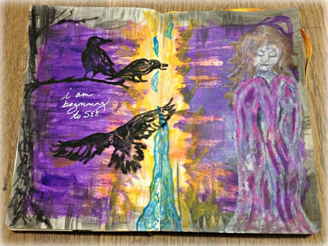 acrylic, watercolor and neocolor prayer art in my journal.