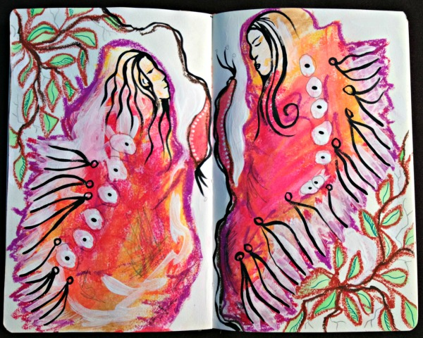 acrylic + watercolor + pencil + ink + oil pastel + prayer on journal pages