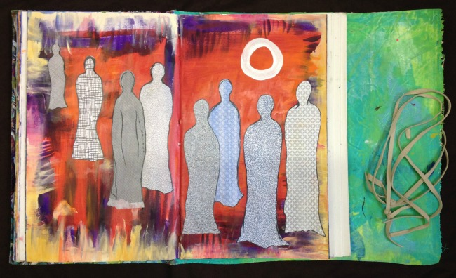 acrylic + paper + energy from women's circles {wip}