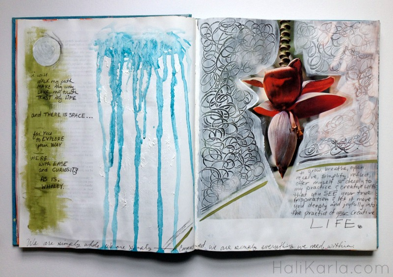 art journal altered book, Hali Karla Arts