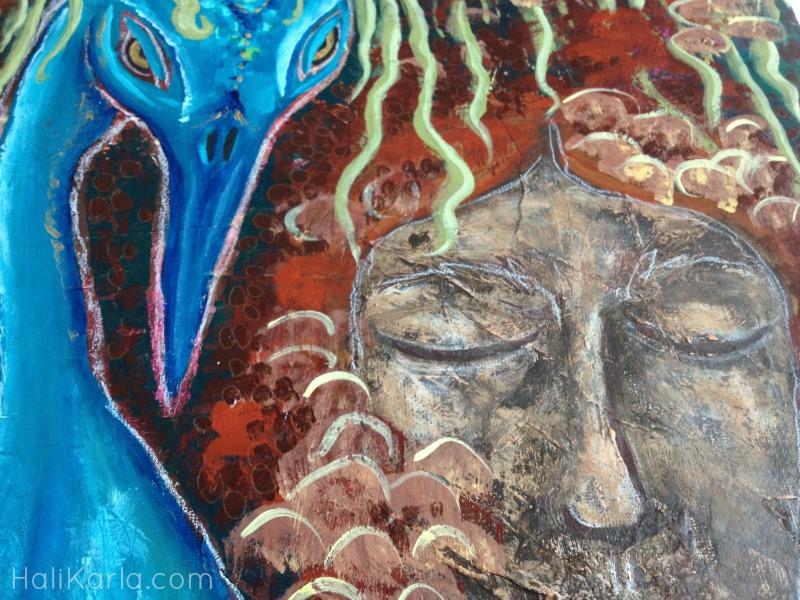 Spirit Bird prayer painting detail, HaliKarla.com