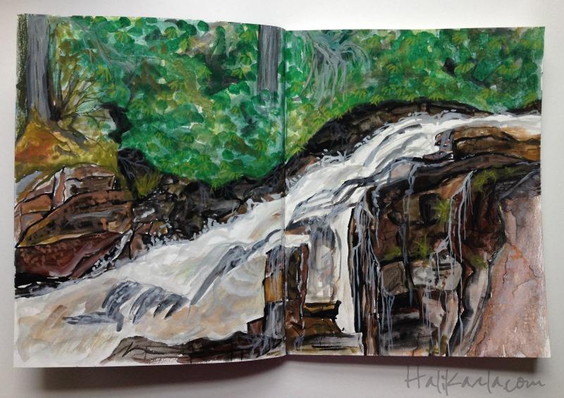 Triple Falls watercolor sketch, Hali Karla