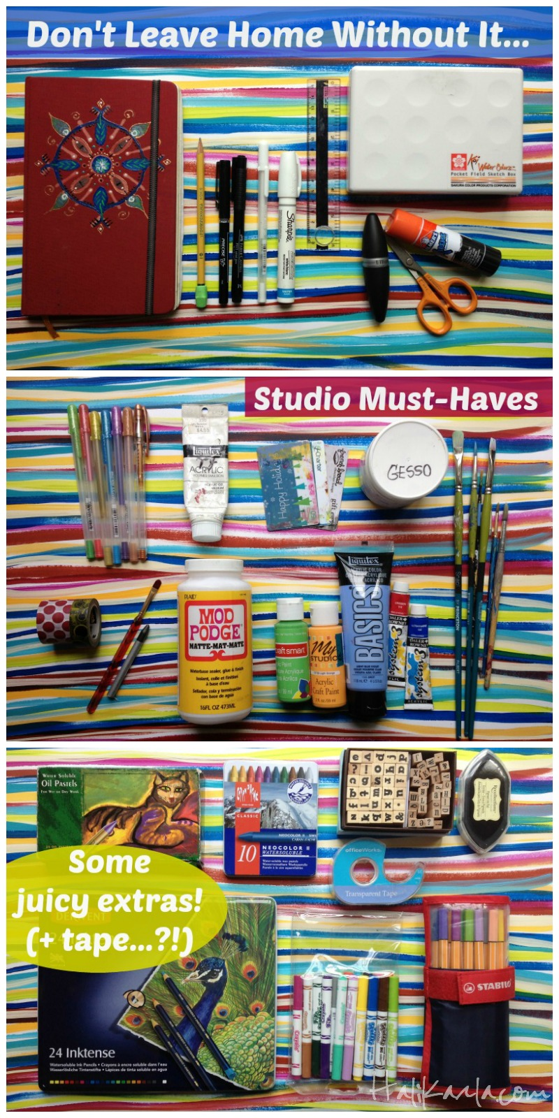 basic supplies for visual journaling, Hali Karla Arts