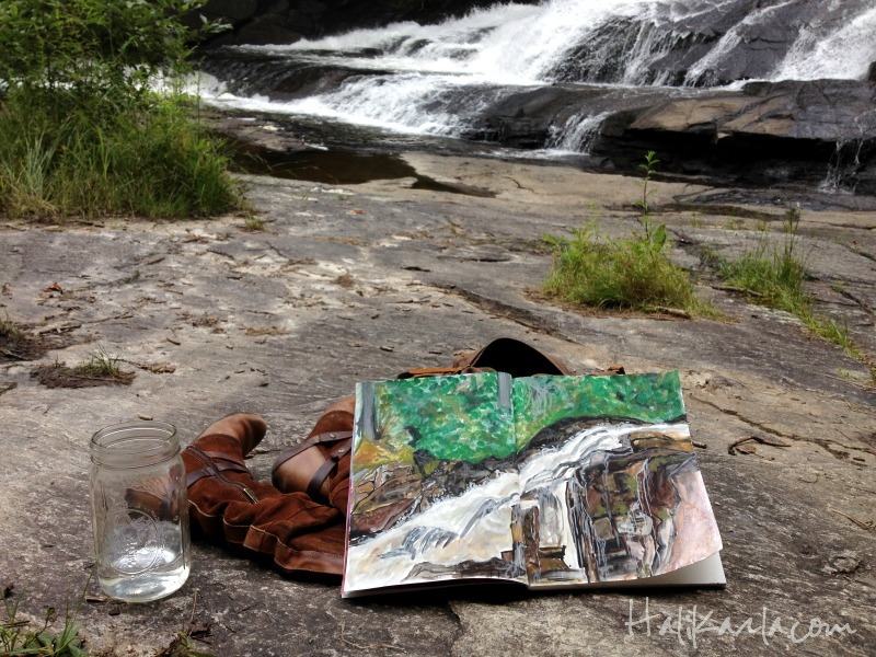 Triple Falls, art journaling, Hali Karla