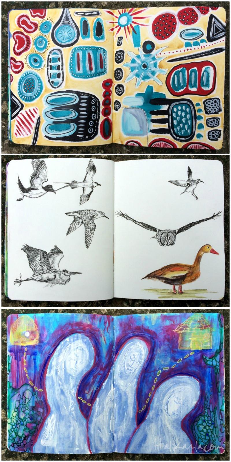 different pages, same art journal, hali karla arts