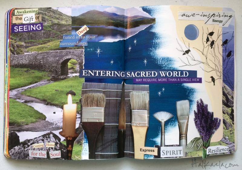 visioning feelings, art journal collage