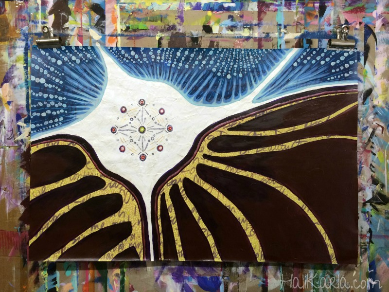 prayer painting, created with prayers from women around the world, click through for video, Hali Karla Arts