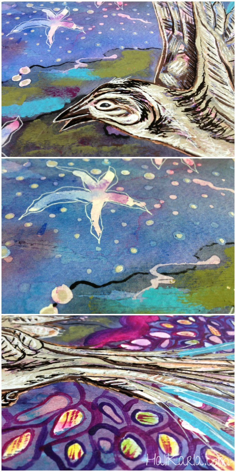 watercolor with resist, spirit bird detail, Hali Karla