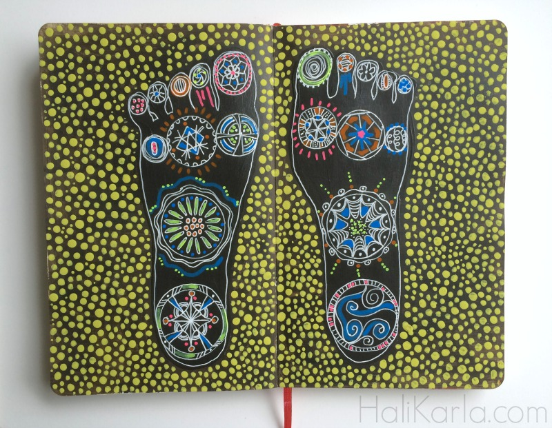 art journal, intuitive feet, Hali Karla