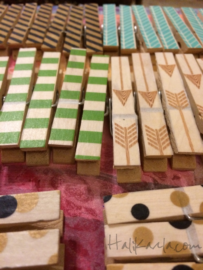 washi tape on clothespins, simple and fun for my artbooth wall, Hali Karla Arts