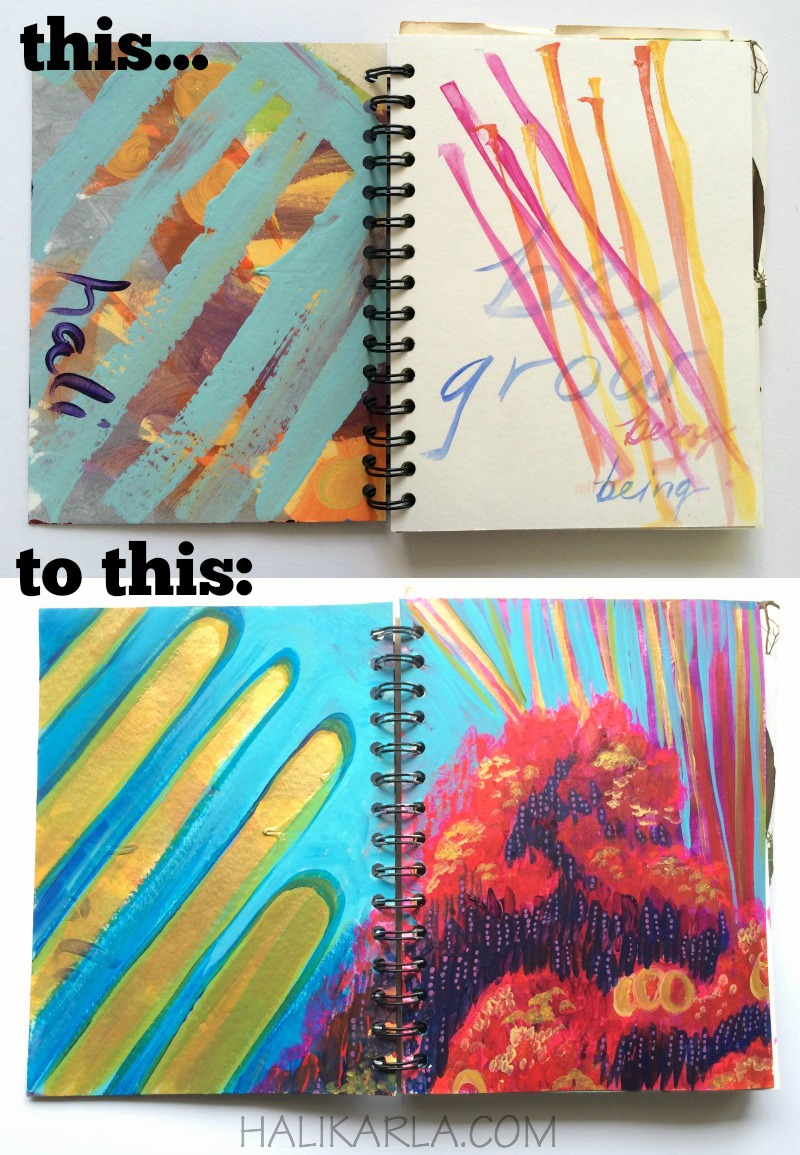 handmade wirebound art journal with scrap papers becomes fresh art journal territory, Hali Karla Arts
