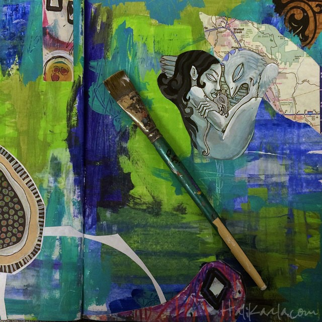 art journal collage spread in process, Hali Karla Arts
