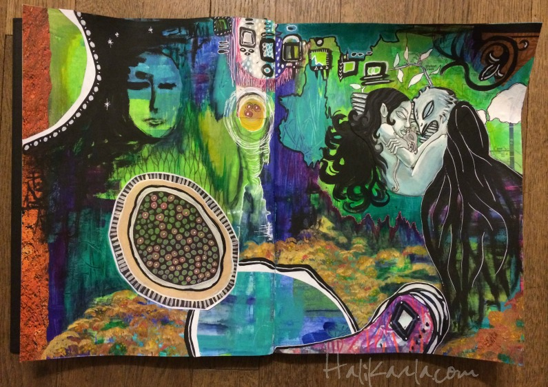 intuitive art journal spread, Hali Karla Arts