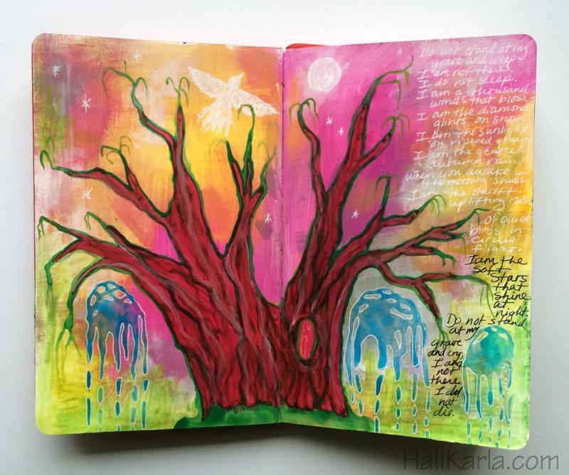 prayer page in moleskine art journal, Hali Karla