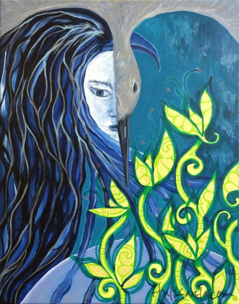 {bird woman} acrylic and mixed media on canvas, Hali Karla Arts