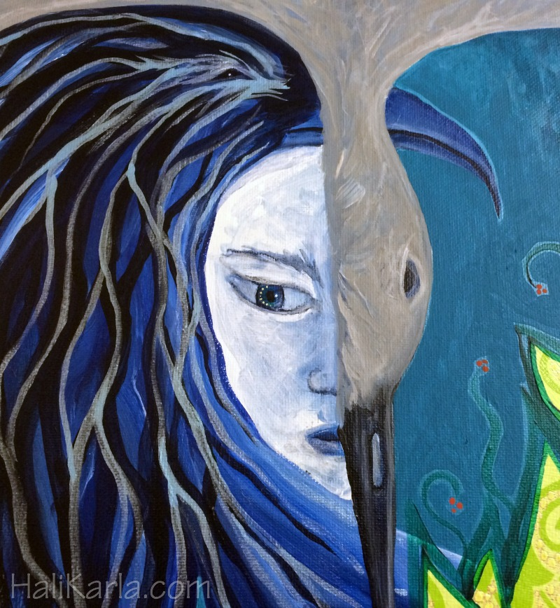 {bird woman, detail} acrylic and mixed media on canvas, Hali Karla Arts
