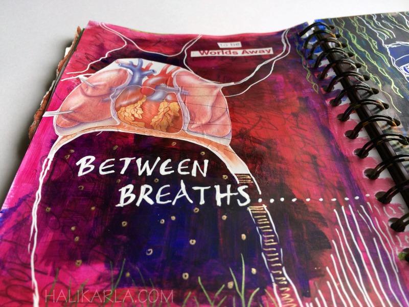 creative practice in art journal, detail, Hali Karla