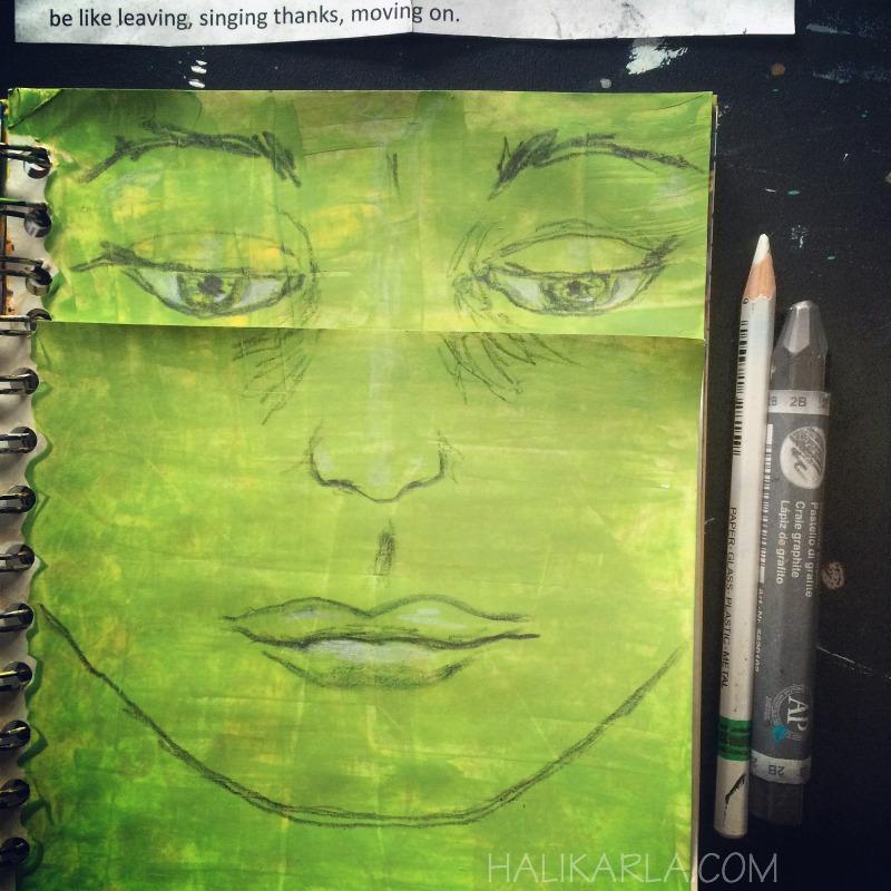 creative practice in art journal, 28 day practice in presence, Hali Karla