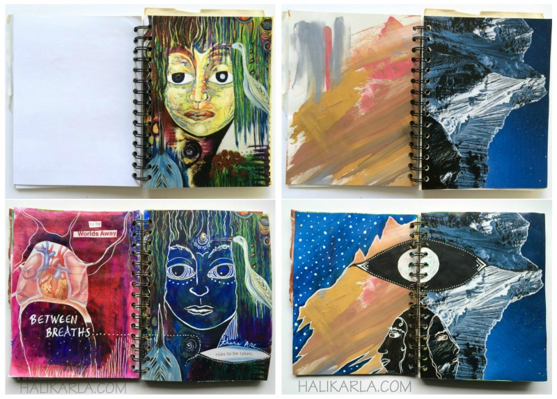 28 day creative practice in handmade art journal made with scraps and old paintings, Hali Karla