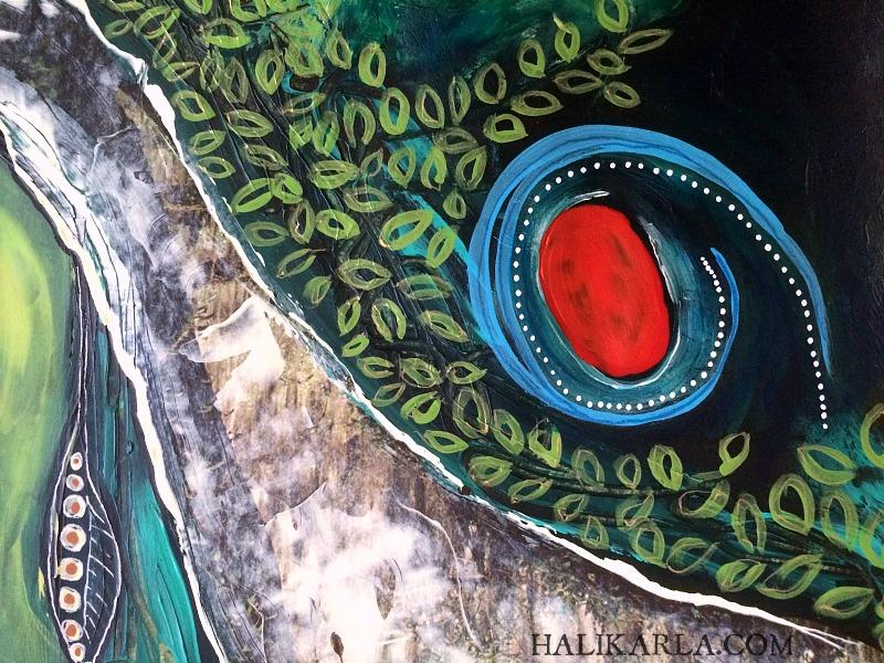 Altered book art journal detail, Hali Karla