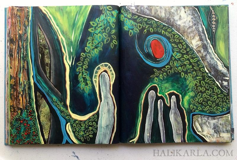 Altered book art journal, Hali Karla
