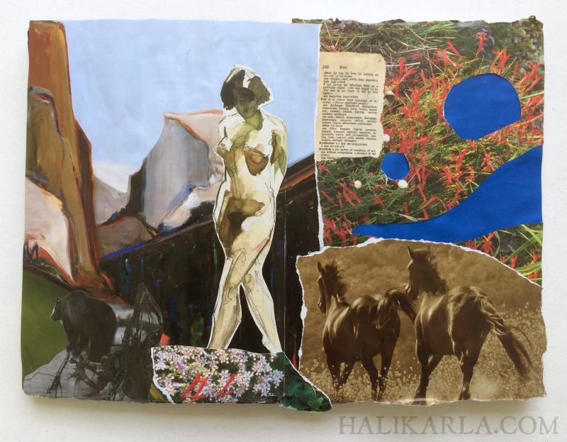 visual journal art collage while traveling, Hali Karla