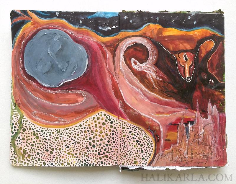 visual journal art from my trip to Sedona, Hali Karla