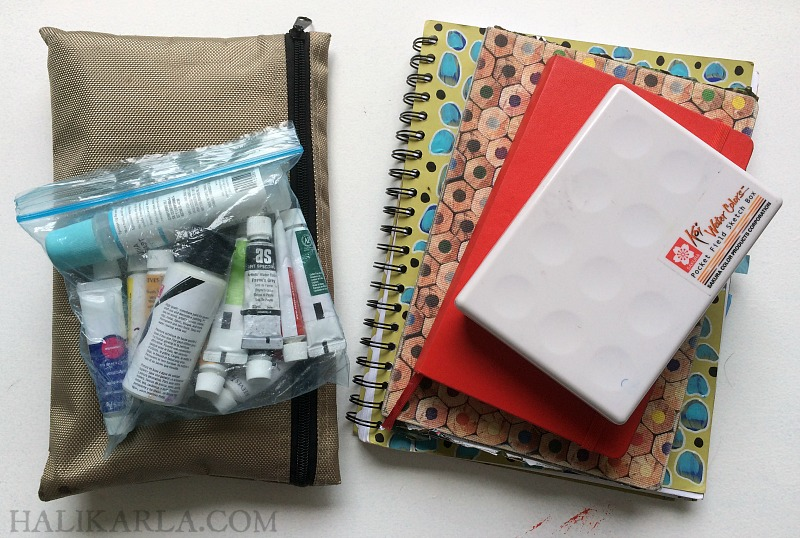 my favorite carry-on art journal supplies for air travel carry-on