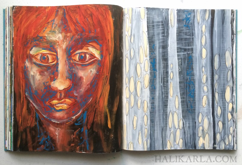 visual journal art in altered book by Hali Karla