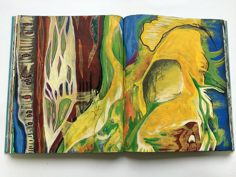 altered book art journal, a visual story of yellow, by Hali Karla