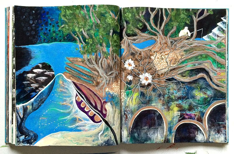 infinite mind - altered book art journal - Hali Karla