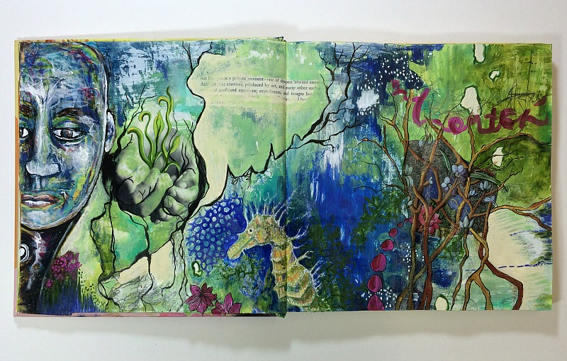 altered book art journal spread by Hali Karla