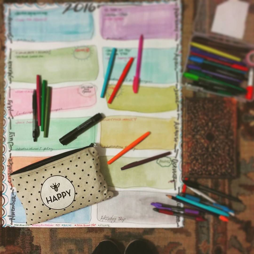 Making a 2016 project energy calendar. Where is my creative energy going to be focused each month so that I can self-care, make art and wholeheartedly share in the ways I'm called and Be in my life? Beginning with the loving advice of my pencil pouch in the lower left...