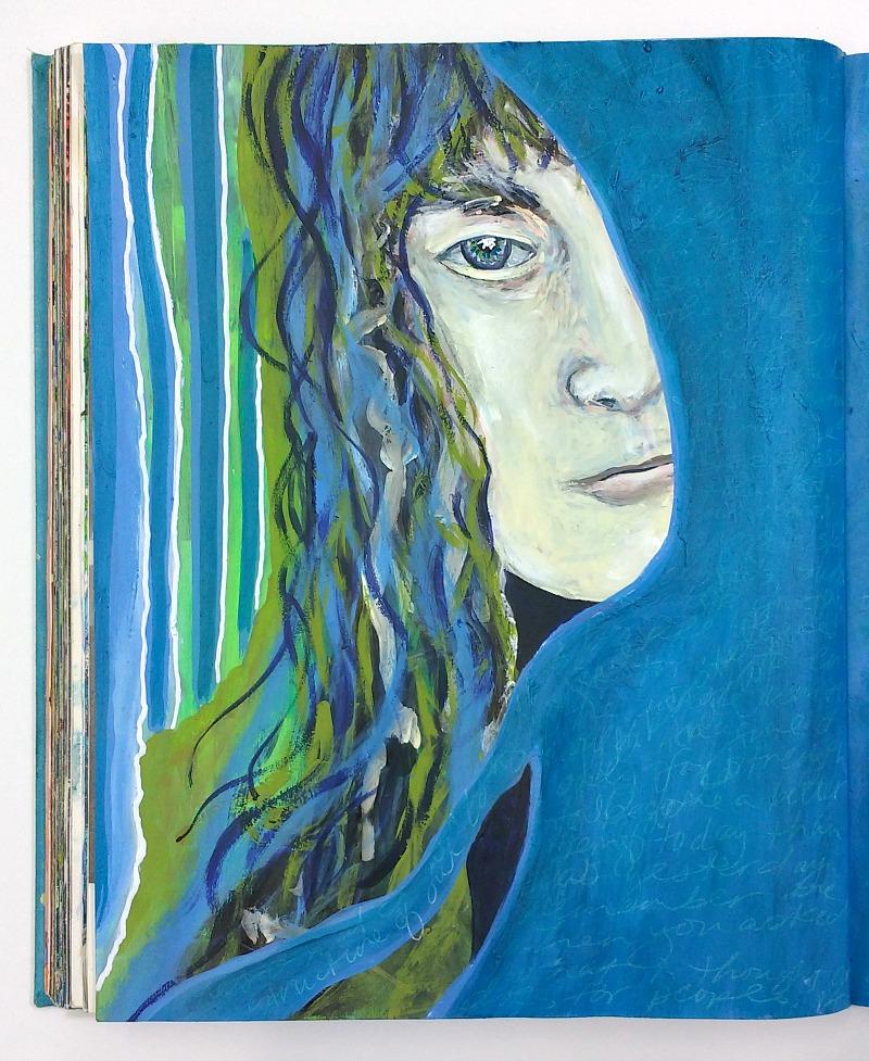 altered book art journal detail - artist Hali Karla