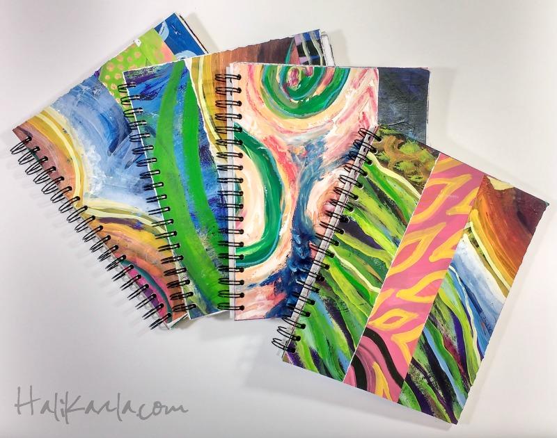 homemade studio-scrap art journals - Hali Karla Arts