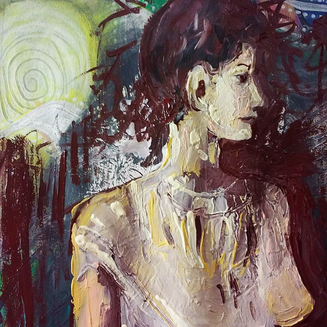 #inmybliss #paintedworld #dreamscape #portraitstudy #mixedmedia