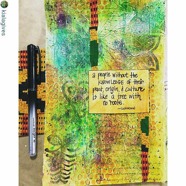 Love the textured layers and quote on this page by @kialagives as part of her daily #artjournaling challenge blog-hop with all the guest teachers for The Journey Within! My challenge goes live next week... And you can play along with the prompts, too, over at her site (see her profile).