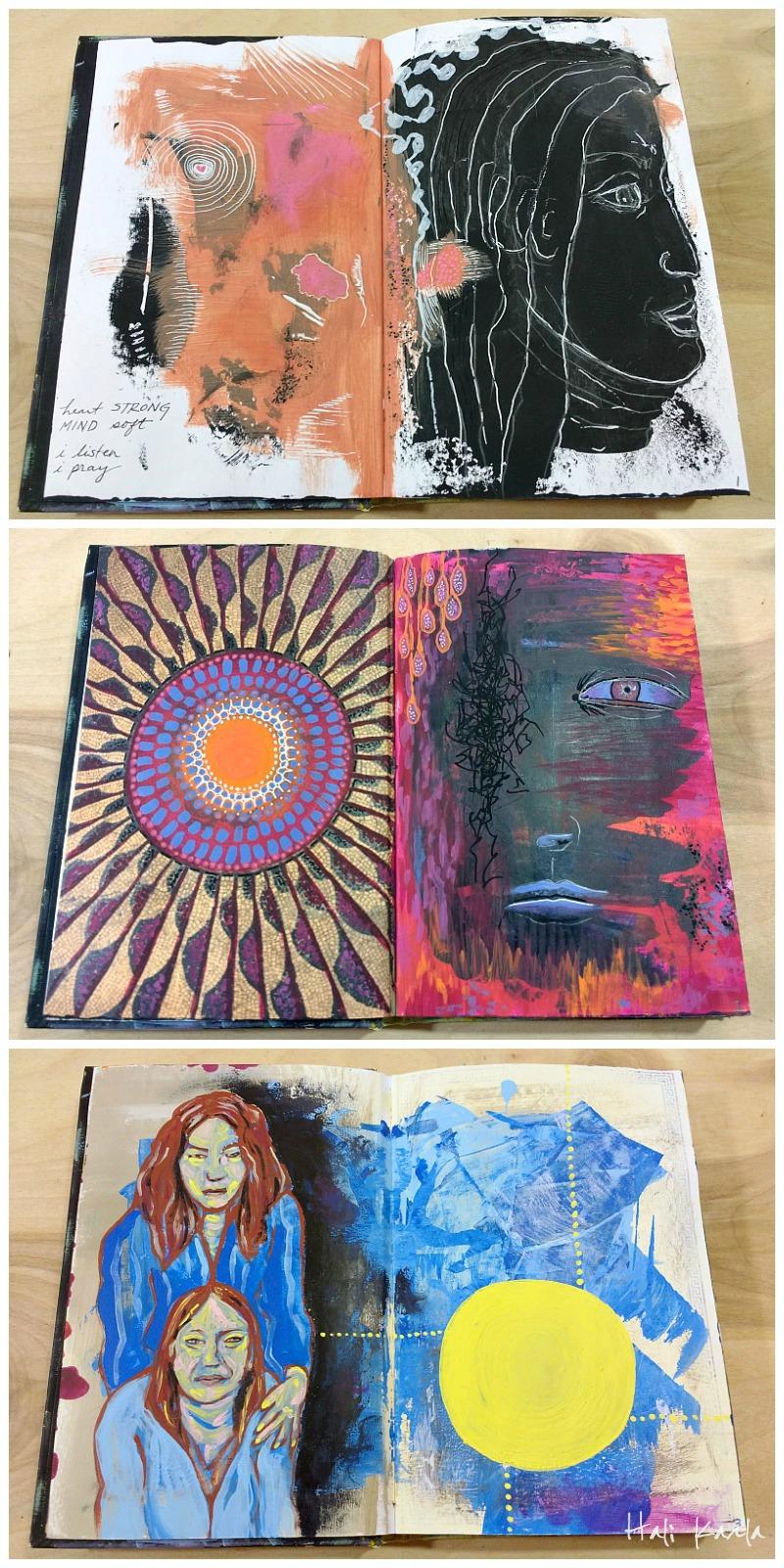 Altered book art journaling, artist Hali Karla