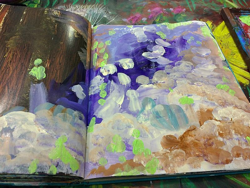 palette pages, starting layers in altered book art journal (Hali Karla)